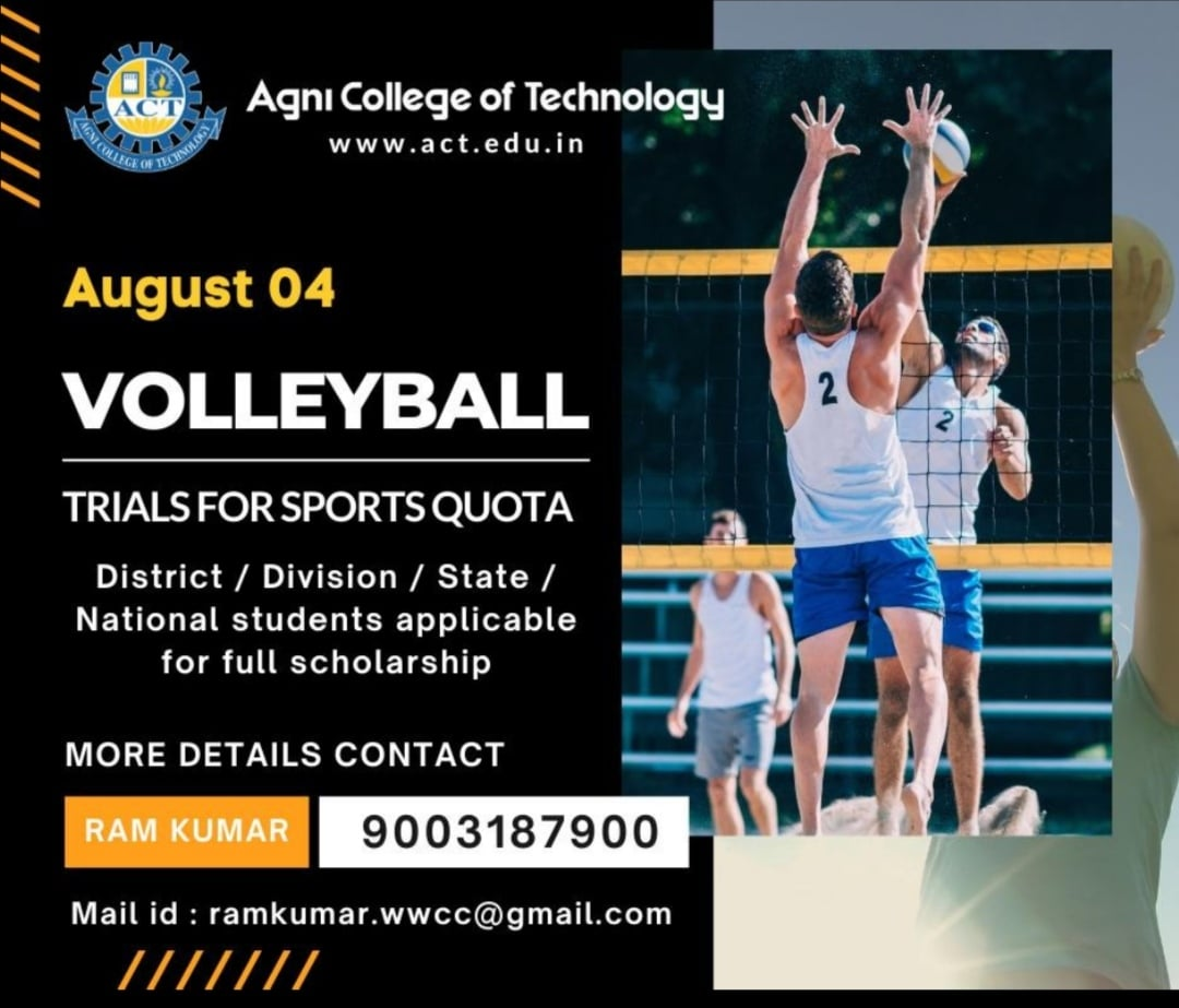 Agni College of Technology to conduct selection trials for Sports Quota.