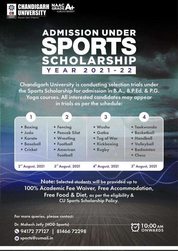 Chandigarh University Admission Under Sports Scholarship 2021-22