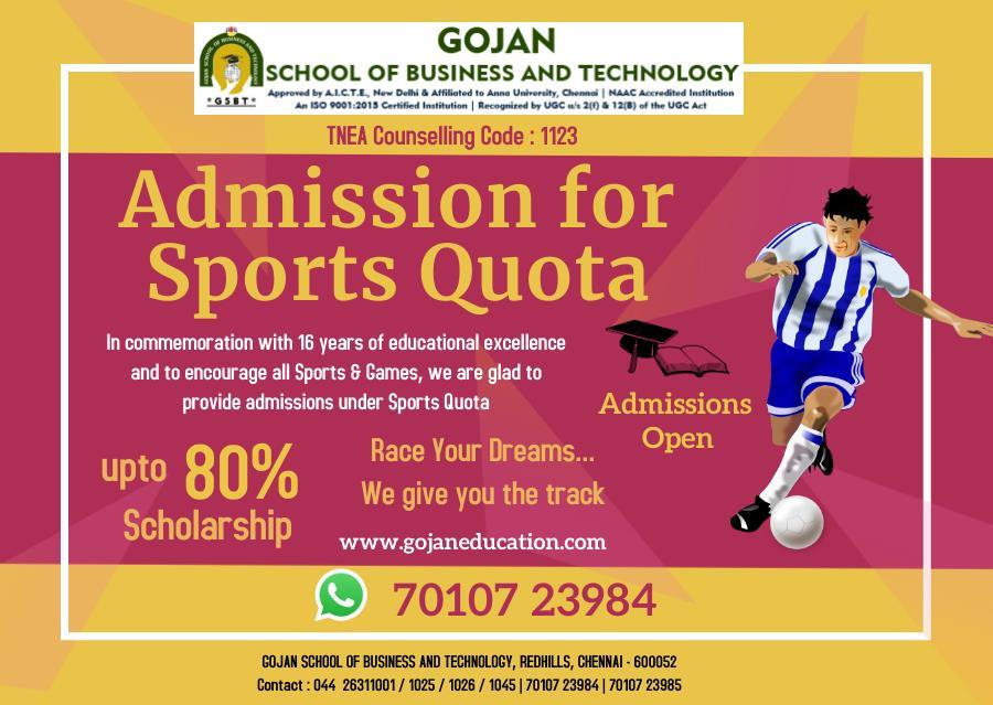 Gojan School of Business and Technology Sports Quota, Chennai
