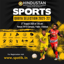 Hindustan Institute of Technology & Science Sports Quota 2021-22.