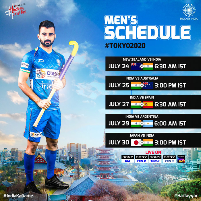 Olympic Games Tokyo 2020 - Team India Hockey Schedule
