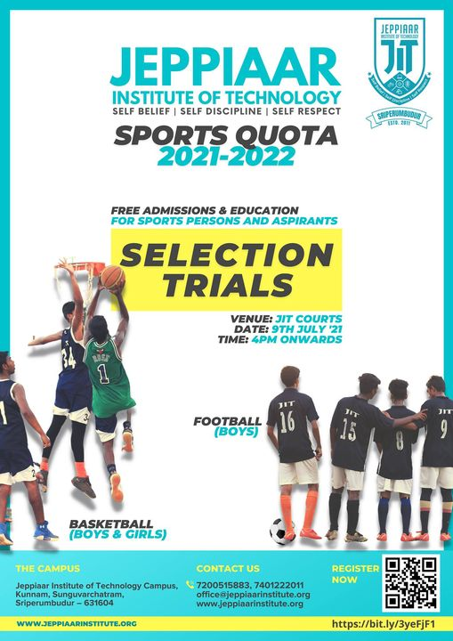 Jeppiaar Institute Of Technology, Sports Quota. Sriperumbudur