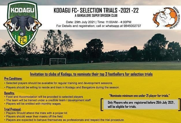 Kodagu FC Selection Trials, Bengaluru