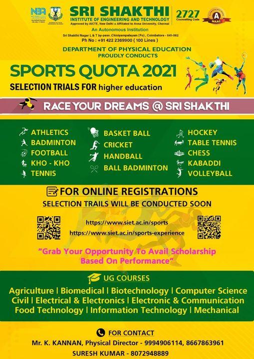 Sri Shakthi Institute of Engineering Sports Quota Selection Trials