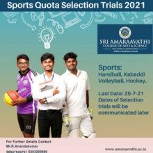 Sri Amaraavathi College Of Arts & Science Sports Quota Admission.