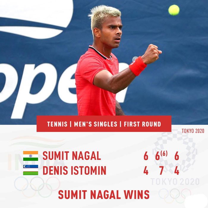 Sumit Nagal begins Olympics campaign with a win, to face Daniil Medvedev next