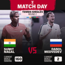 Sumit Nagal facing world no 2 Daniil Medvedev