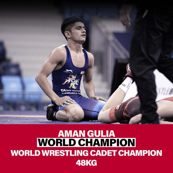 Indian wrestlers Aman Gulia and Sagar Jaglan become cadet world champions.