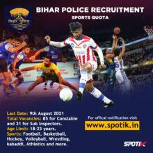 Bihar Police Sports Quota Recruitment 2021 Constable & SI Posts