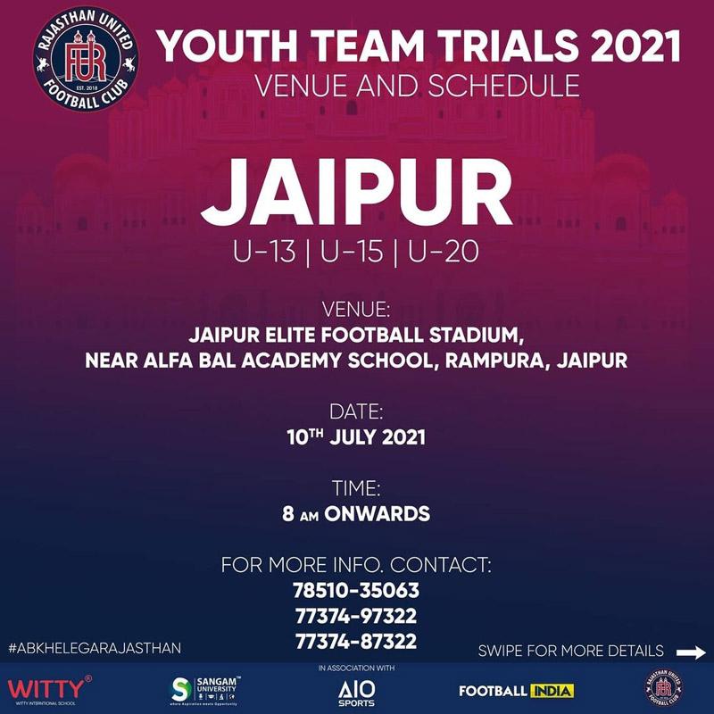 Rajasthan United FC, Jaipur Scholarship Trials