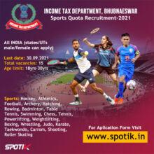 Income Tax Sports quota Recruitment, Odisha