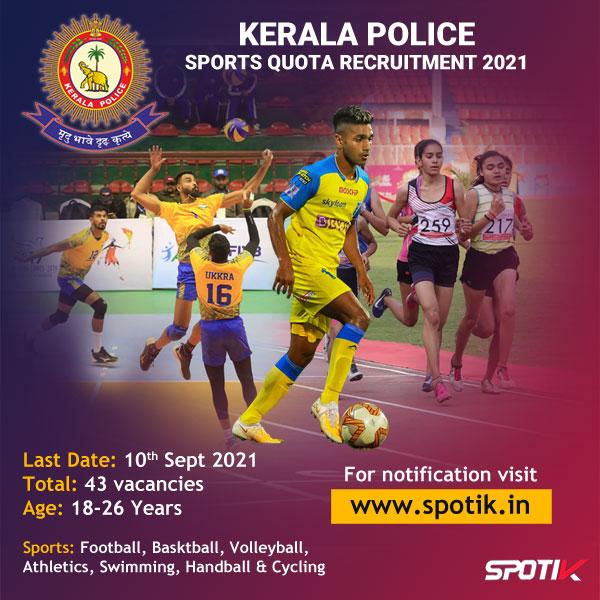 Kerala Police Sports Quota Recruitment 2021