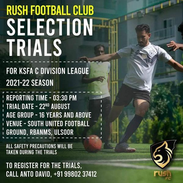 Rush FC Selection Trials - Bengaluru