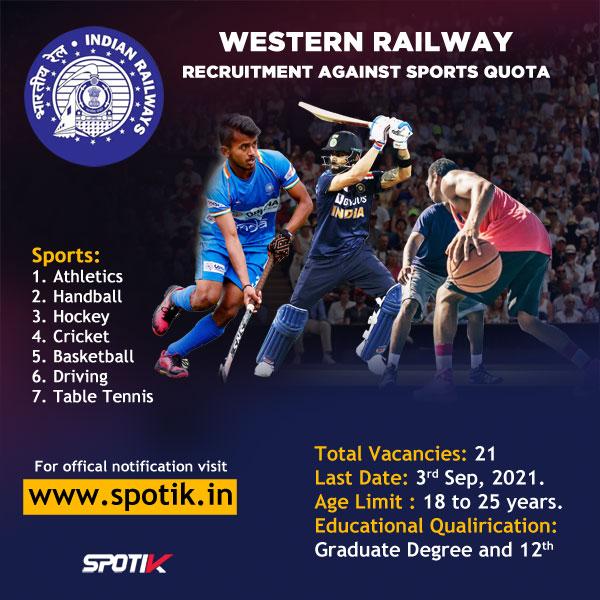 Western Railway Sports Quota Recruitment 2021