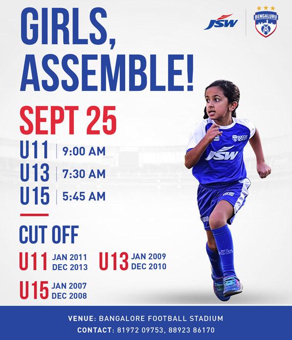 Bengaluru FC Football Academy Girls Trials