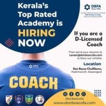 DON BOSCO Football Academy Hiring Coach