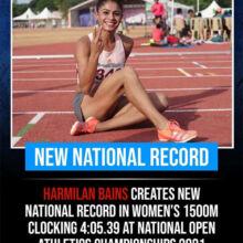 Athletics: Harmilan Kaur Bains breaks 19-year-old 1500m national record.