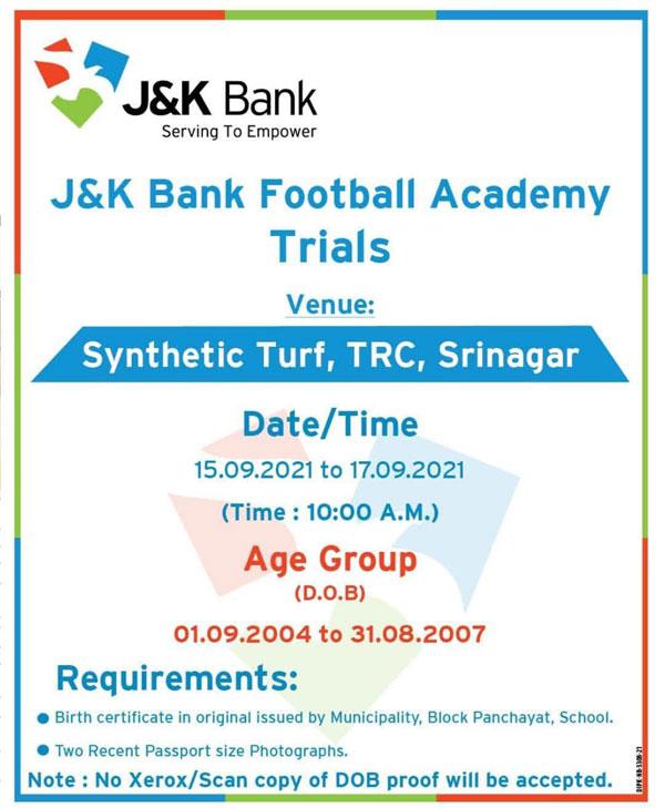 J&K Bank Football Club Youth Trials.