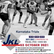 Just kabaddi league Trials, Karnataka