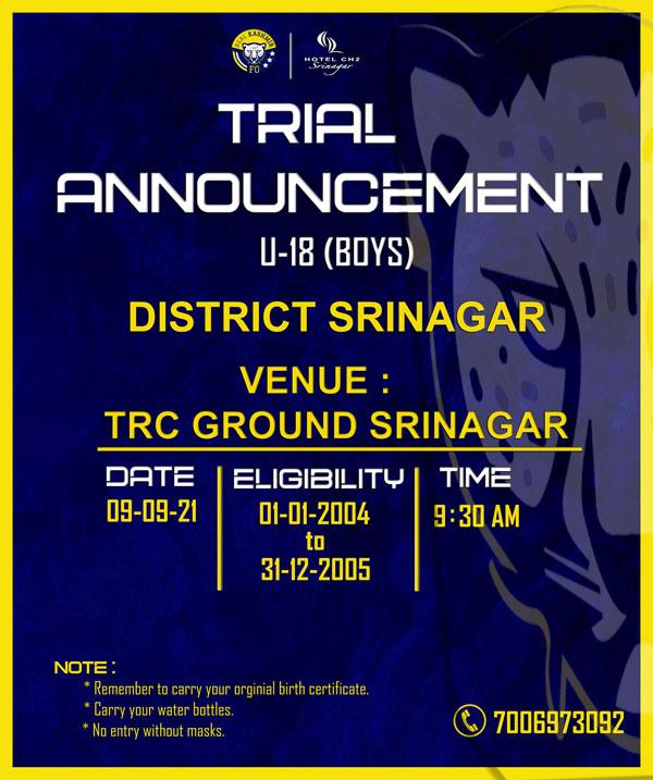 Real Kashmir FC U18 Selection Trials, Srinagar