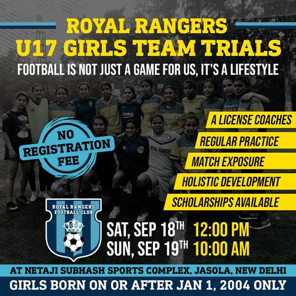 Royal Rangers FC Girls Trials, New Delhi