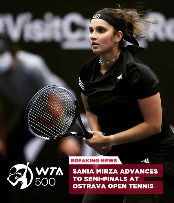 Sania Mirza advances to semi-finals at Ostrava Open tennis.