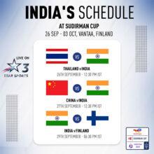 Sudirman Cup badminton: India's schedule & watch live