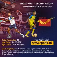 Telangana Postal Circle Recruitment Under Sports Quota 2021
