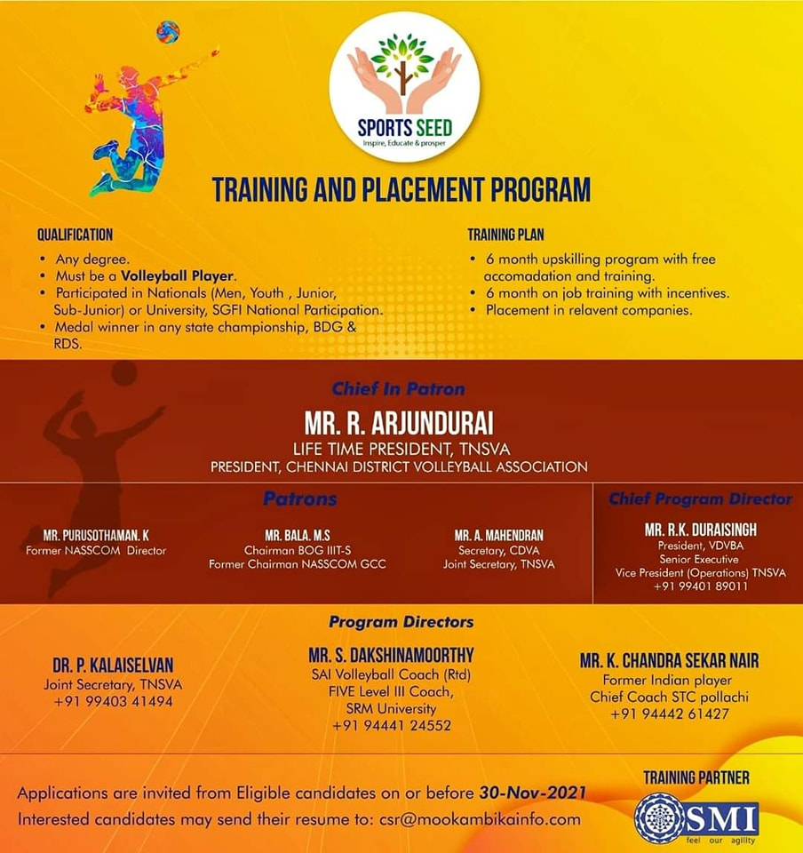Training & Placement Program for Volleyball Players, Chennai
