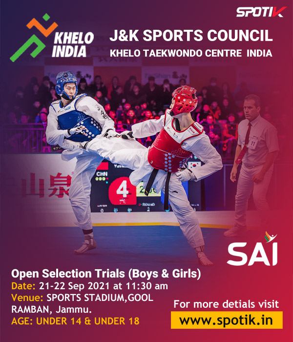 J&K Sports Council: Taekwondo selection trials for khelo India center.