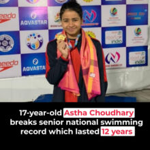 Assam swimmer Astha Choudhury breaks 12-year national record in 100m butterfly.