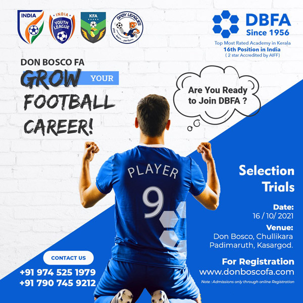 DON BOSCO Football Academy Trials, Kasargod