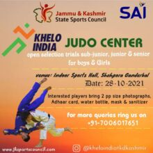 J&K: Selection Trials in JUDO for Khelo India Centre