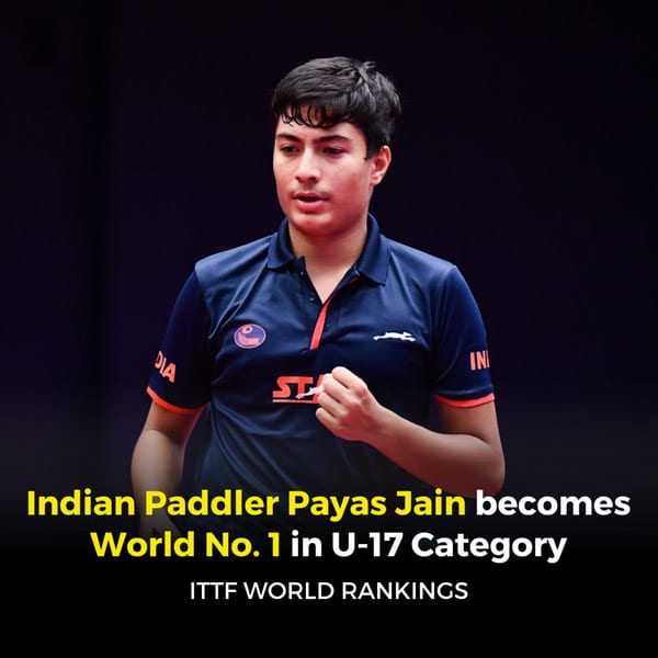 Table tennis: Payas Jain elated to be World No. 1 in junior category