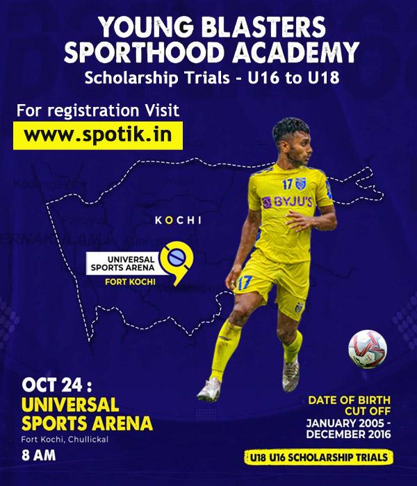 Young Blasters Sporthood Academy Scholarship Trials, Kochi