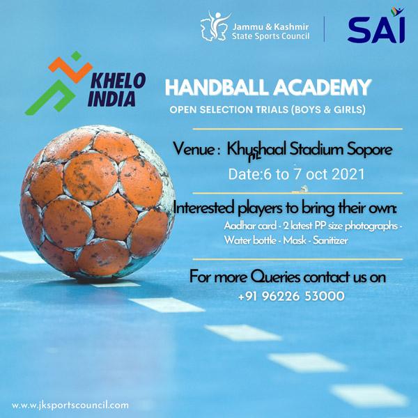 Handball Selection Trials for Khelo India Centre.