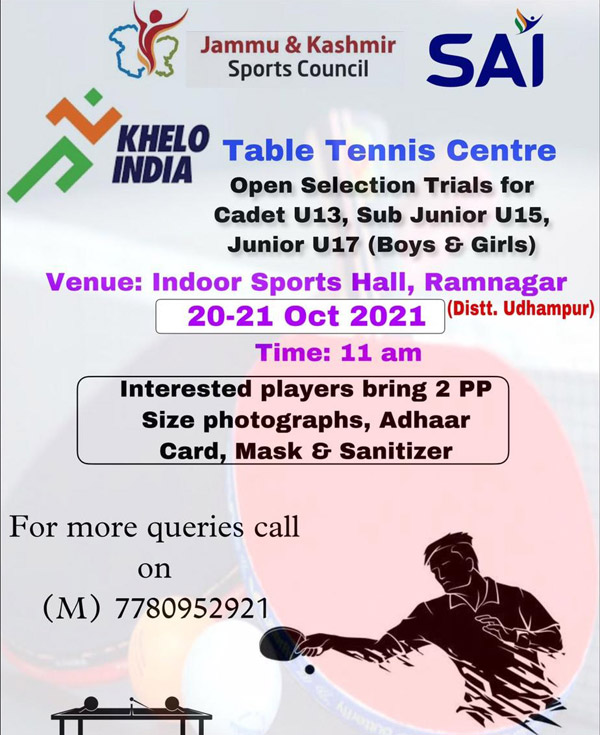 selection trials in Table-Tennis for khelo India center